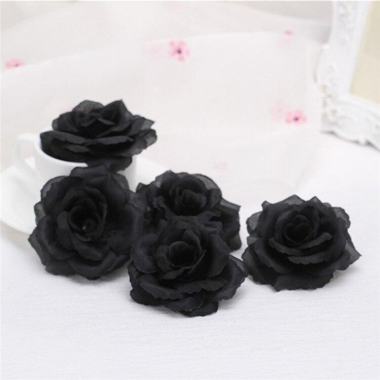 8 см Черные искусственные цветы розы голова для свадьбы День рождения украшения DIY Роза медведь ремесла поставки Флорес искусственное|Искусственные и сухие цветы|   | АлиЭкспресс
