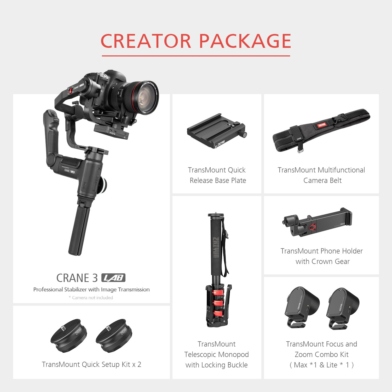 DHL Zhiyun Crane 3 LAB 3-axis Handheld Gimbal DSLR Camera stabilizer for Sony A7M3 A7R3 Canon 6D 5D Panasonic GH4 GH5 Nikon D850 10