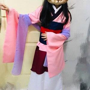 Image 1 - Костюмы на Хэллоуин для женщин размера плюс принцесса фильм косплей девушка взрослые дети Хуа Мулан взрослый костюм платье розовое голубое платье