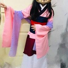 Disfraces de halloween para mujeres princesa talla grande película Cosplay chica adultos niños hua mulan adulto disfraz vestido rosa azul