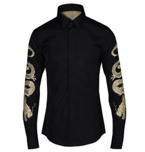 New Fashion Spring Autumn Chinese Style Shirt Golden Dragon Embroidery Long-sleeve Men Slim Casual Shirt Men Plus Size Clothing