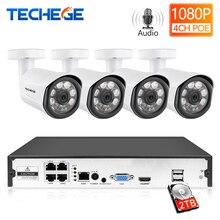 Techege H.265 4CH 1080 P CCTV Камера Системы 4 шт 2mp Водонепроницаемый комплект видеонаблюдения PoE 48 V комплект камер видеонаблюдения обнаружения движения