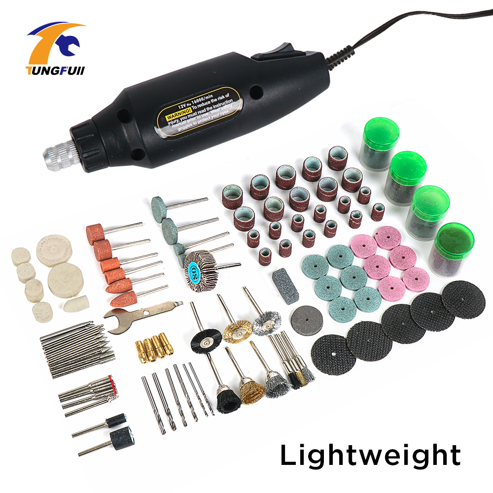 Tungfull Mini Electric Drill Accessories Nail Shaping Tools Carving Bit Set Power Drill Set  Polishing Machine Power Tools 12V