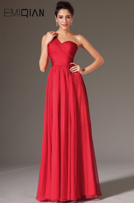 Livraison gratuite De haute qualité une épaule dentelle dos rouge en mousseline De soie robes De soirée Robe De soirée