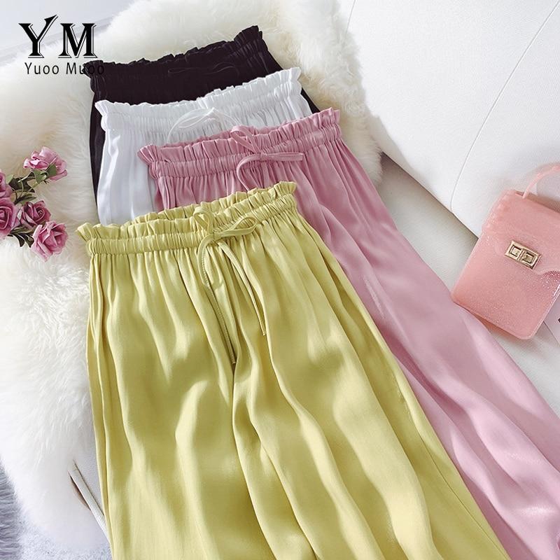 YuooMuoo New 2019 Soft Women Satin   Pants   Summer Golden Streetwear High Waist   Pants   Trouser Causal Drawstring Long   Wide     Leg     Pants