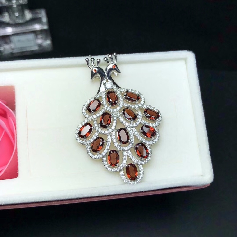Collier de grenat naturel, lovebird, design frais, bonne qualité de gemme, matériau en argent 925 - 6