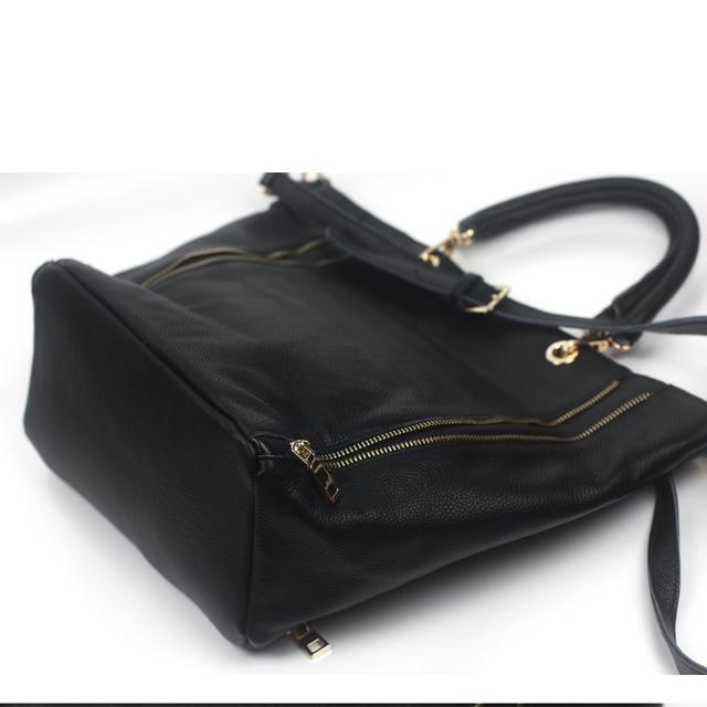 GINIANI Genuine Leather Women's Longitudinal Double Zippers Large Shopping Totes Fashion Rock Style Head Portrait Painting Bag