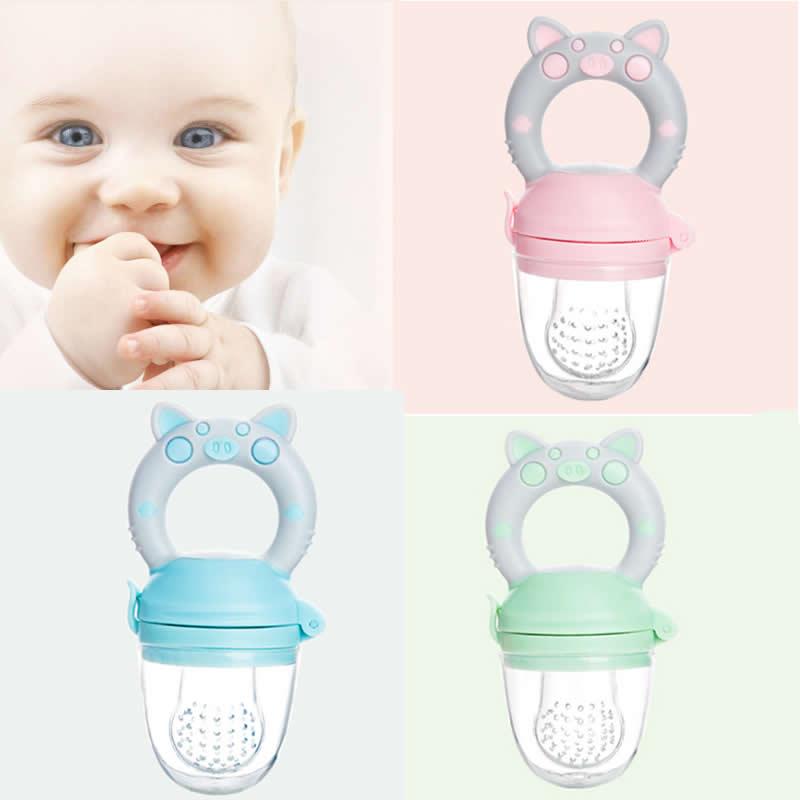 Pig Style Baby Fruit Vegetable Feeding Pacifier Trainning Bit Bag Plastic Buckle Enjoyed Pacifier Bit Feeder Consisting Tools
