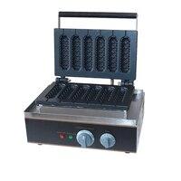 Commercial Electric 6 pieces Crispy corn hot dog waffle maker non stick French Muffin sausage Machine EU US plug 110V 220V