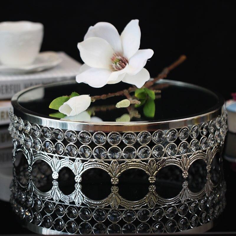Cristal gâteau disque miroir nouilles verre mode le mariage Dessert plate-forme cuisson papier tasse gâteau Fruits plateau - 4