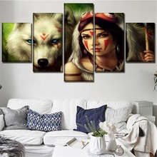 HD Prints 5 Pieces Movie Princess Mononoke Canvas Pictures Decor Framework Living Room Home Wall Art Modular Paintings