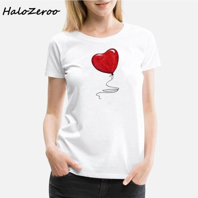 2019 Summer Love Balão T-Shirt Das Senhoras Tops T-shirt Roupas Kawaii Harajuku Estética Retro Branco O-pescoço T-Shirt Das Mulheres