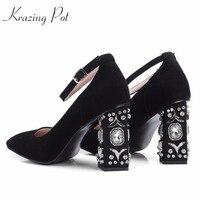 KRAZING 냄비 양 스웨이드 플러스 크기 광장 하이힐 여성 다이아몬드 크리스탈 하이힐 펌프 광장 발가락 웨딩 럭셔리 브랜드 신발 L07