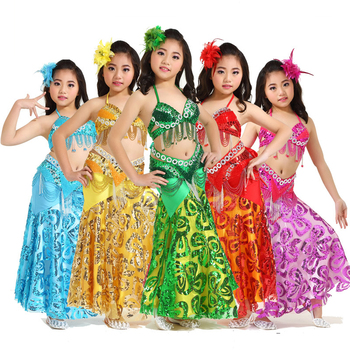 Stage Performance Children Dance Wear Sequins Beaded Outfits Belly Dance Costume 3 Pieces Tassel Hip Scarf Long Skirt #828