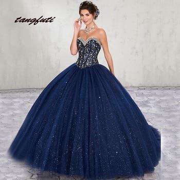 582aa612bcd Azul Marino vestidos de Quinceañera de bola vestido largo tul vestidos de  baile de Debutante 16 15 dulce 16 vestido vestidos de 15 años 2019