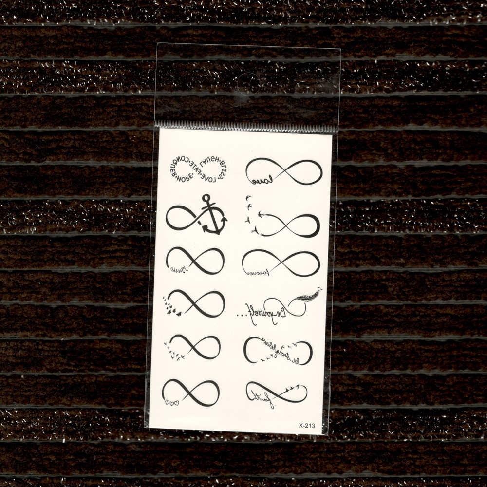Черная линия татуировки стикер s съемные водные передачи поддельные татуировки Одноразовые водонепроницаемые временные наклейки кривой Якорь ЛЮБВИ
