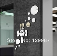 Free Shipping DIY Clock Mirror Sticker For Living Room Bed Room Receipt Room Decoration 3D Mirror