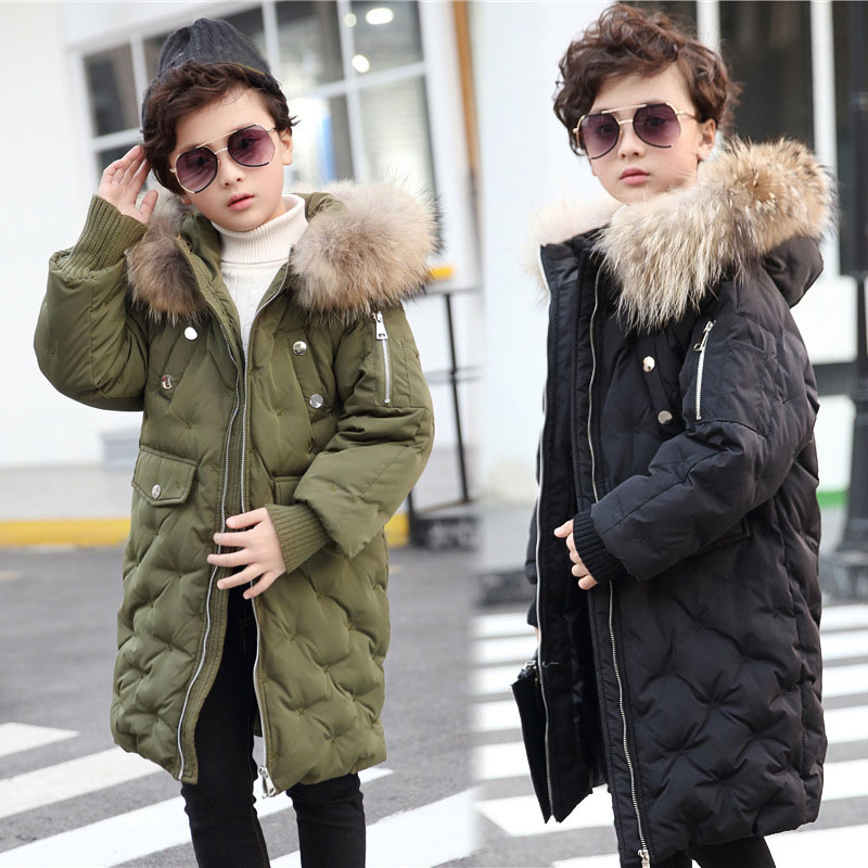 fur hooded long boys winter jackets for girls white duck down coats kids thick warm tops baby boy girl padded children clothing  2016 new brand child girls winter white duck down jackets coats thick hooded outwar waistband kids girls warm down jacket parkas