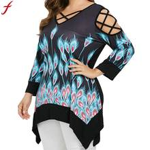 786e83ed4d0 (Ship from US) Large Size Women Tunic Shirt 2018 New Fashion Front Cross  Peacock Feathers Print Blouse Sexy Cold Shoulder Long Sleeve 5XL Top
