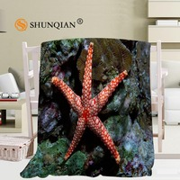 Custom Blanket Starfish Soft Blanket DIY Your Picture Decoration Bedroom Size 56x80Inch,50X60Inch,40X50Inch