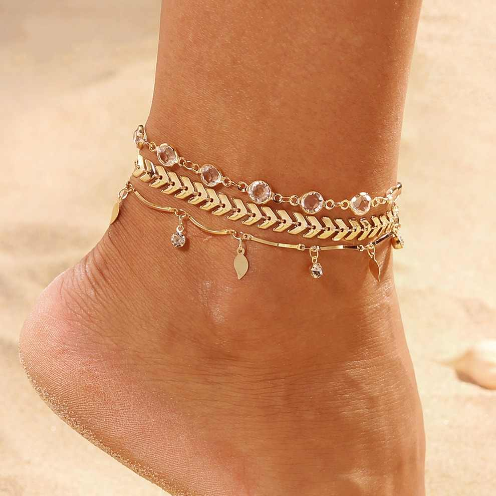 3PCS/SET Crystal Star Female Anklets Barefoot Crochet Sandals Foot Jewelry New Anklets Foot Ankle Bracelets For Women Leg Chain