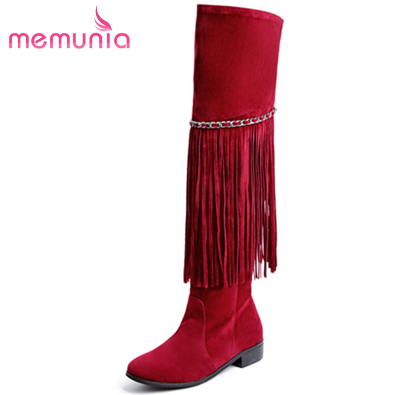 MEMUNIA Large size 34-43 over the knee boots fashion retro flock spring autumn shoes woman long boots tassel solid memunia 2017 fashion flock spring autumn single shoes women flats shoes solid pointed toe college style big size 34 47