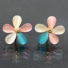 Cherry Blossoms Stud Earrings Gold Color Colorful White Cat Eye Stone Flower Earring Women Ear Jewelry Rhinestones Accessories(China)