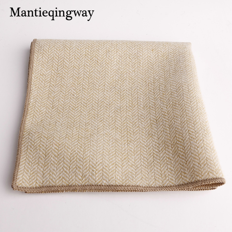 Mantieqingway Formal Handkerchief Scarves Vintage Wool Men's Pocket Square Handkerchiefs Cotton Business Chest Towel 23*23cm