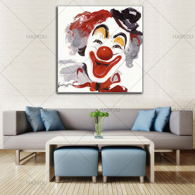 HASYOU Hand Painted Wall Art Canvas Frameless Painting Funny Clown Oil  Painting Home Decoration Living Room
