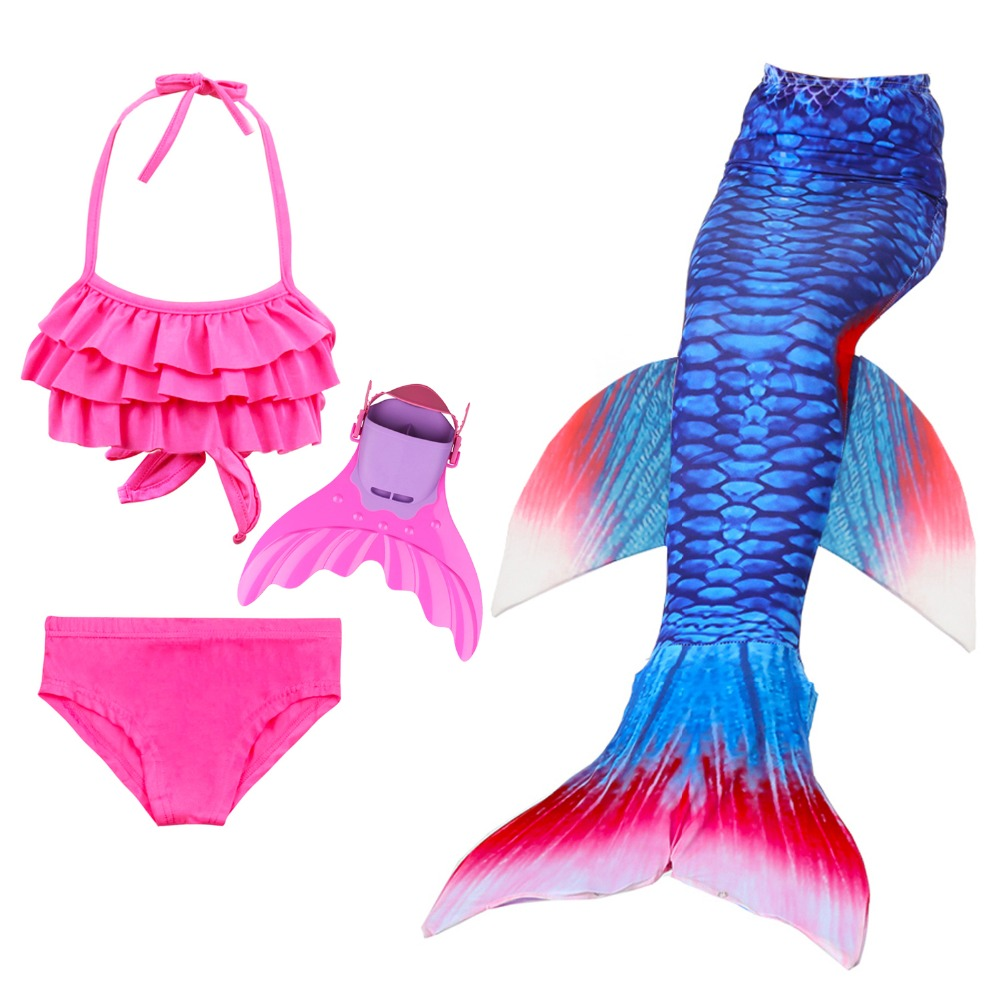 Girls Mermaid Tails For Swimming Costume Little Children Mermaid Tails Swimsuit Kids Batihing Suit Cosplay with Wavy Monofin