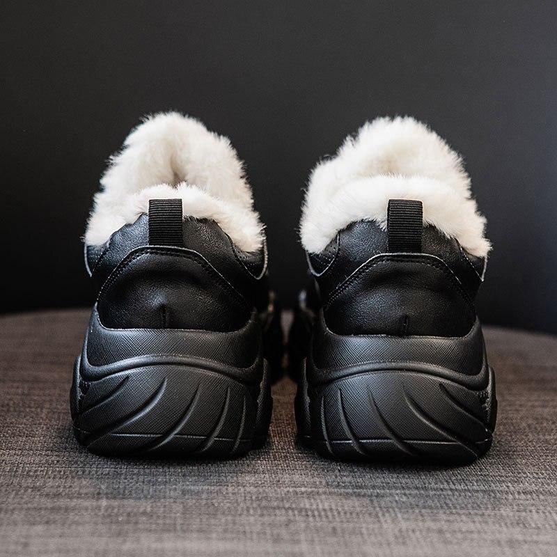 Image 4 - SWYIVY Chunky White Sneakers Women Casual Shoes Women Sneakers 2019 Warm Winter Fashion Leather Platform Snow Ladies Shoe PlushWomens Vulcanize Shoes   -