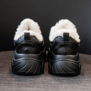 Image 4 - SWYIVY Chunky White Sneakers Women Casual Shoes Women Sneakers 2019 Warm Winter Fashion Leather Platform Snow Ladies Shoe Plush
