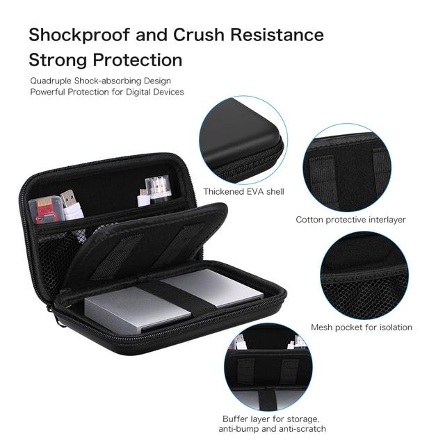 """EVA Chống Sốc 2.5 inch Hard Drive Mang Trường Hợp Pouch Túi 2.5 """"Tổ Chức Di Động Bên Ngoài HDD Ngân Hàng Điện Cáp Phụ Kiện túi"""