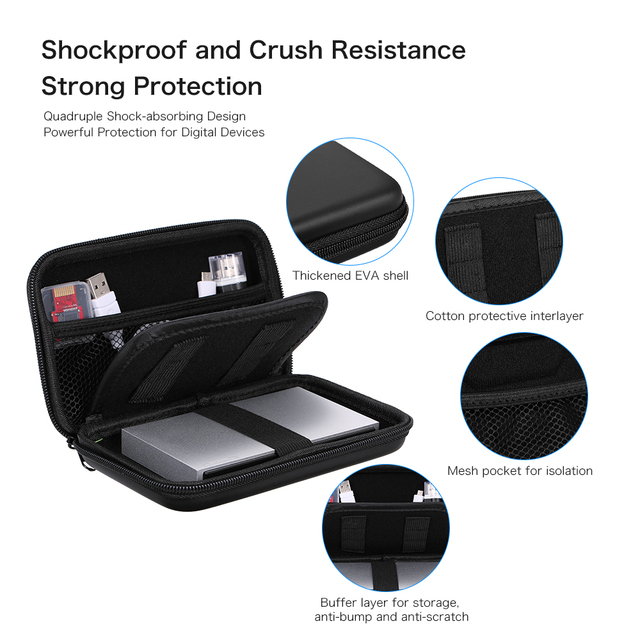 """EVA Shockproof 2.5 inch Hard Drive Carrying Case Pouch Bag 2.5"""" Organizer Portable External HDD Power Bank Cable Accessories Bag"""