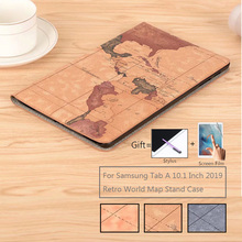 World Map Flip Stand Leather Magnet Funda Capa Shell Cover Capa Case For Samsung Galaxy Tab A 10.1 Inch 2019 T515 T510 SM-T515