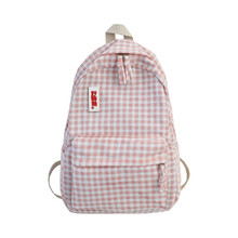 Grid Backpack England Style Fresh Pink School Bag for Teenage Girls Brand High Quality Large Capacity Leisure Or Travel