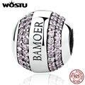 100% 925 Sterling Silver Marca Assinatura Da Marca Contas Com Pink CZ Fit Pulseira Pandora Original Autêntico Presente de Jóias de Luxo