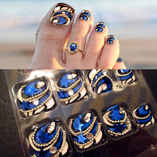 24 pcs/set Elegant fashion blue finished False Nail,3D Silver chain Five pointed star decoration full Nail tips toe patch,tools