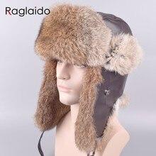 d1172fc080c Raglaido Furs russia Bomber Hats for men with Ear flaps Adjustable Ushanka  Winter Snow Rabbit Black Leather Hat 56-59cm LQ11203