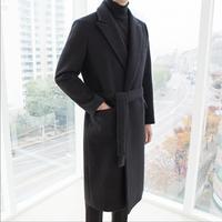 Зимняя Корейская ветровка мужская длинное пальто свободная шерстяная ткань кашемировое пальто Пряжка ремень над коленом пальто певица оде