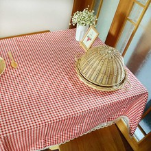 Countryside Modern Plaid Print Rectangle Table Cover Tablecloth Cotton Coffee Wedding Party Diningroom Home Kitchen Decoration