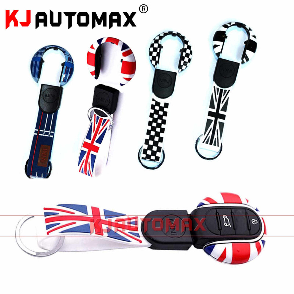 1 Set Mini Cooper Car Key Chain Keychian Remote Case Cover Accessories F54 F55 F56 Countryman Clubman JCW Grey Union Jack new 2pcs for mini cooper accessories f54 f55 f56 carstyling door knob door handle shell covers decoration sticker union jack