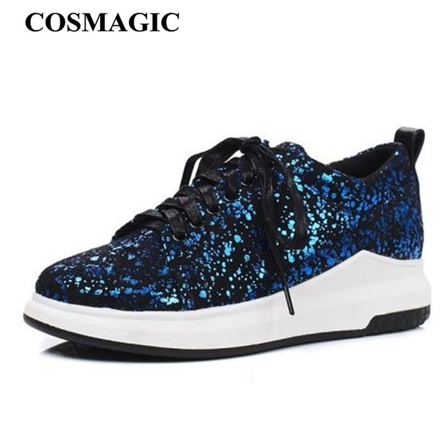 COSMAGIC 2018 New Women Glitter Fashion Sneakers Platform Low-cut Shoes  Casual Round Toe Lace Up Driving Shoe Plus Size 81e94581cb0d