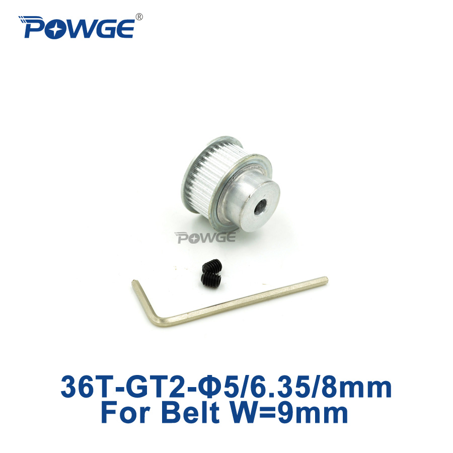 POWGE 36 teeth <font><b>GT2</b></font> Timing Pulley Bore 5mm 6.35mm 8mm for width 9mm <font><b>GT2</b></font> Timing belt Small Backlash 2GT pulley 36teeth <font><b>36T</b></font> 1pcs image