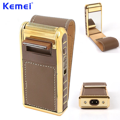 KEMEI Rechargeable Mini Electric Shaver Leather Shell Shaver Protable Reciprocating Trimmer for Men Gifts tondeuse barbe KM 5500 in Electric Shavers from Home Appliances