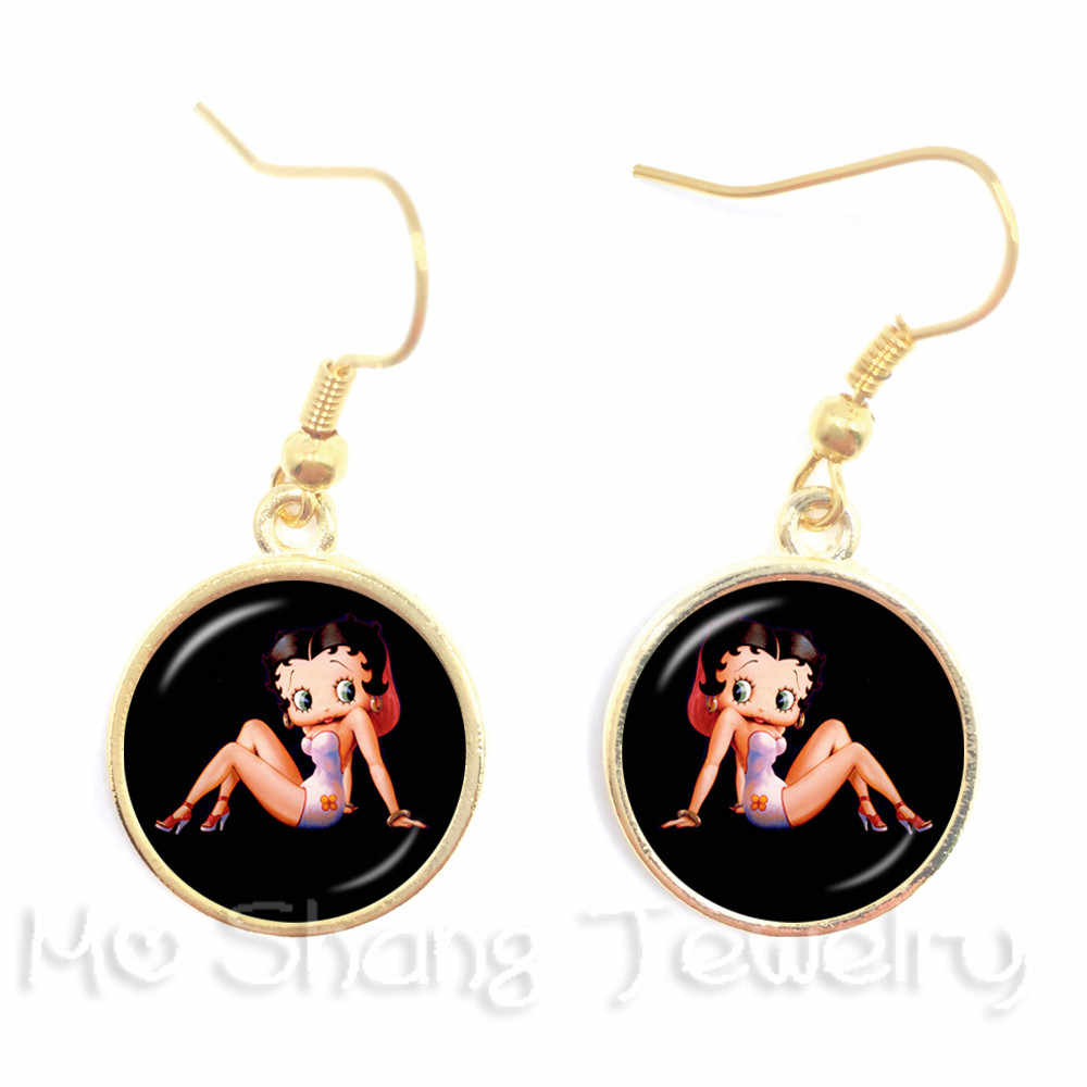 A Pair 16mm Round Glass Cabochon Handmade Betty Boop Dangle Earrings For Women Girls Party Favor Earrings Jewelry Best Gifts