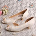 Bride Collections Women's Round Toe Pumps Low Heel Ivory Lace and Satin Prom Wedding Shoes