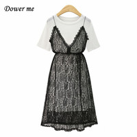 Hot Large Size Two Piece Set Suit Ladies Dress Women Casual Preppy Style Party Frocks Female