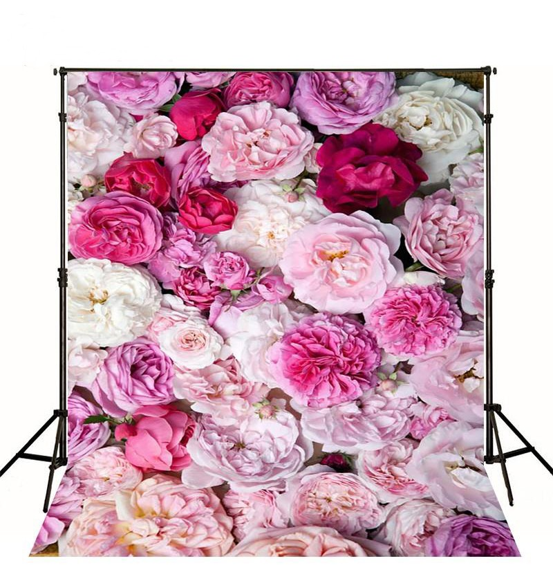3d Pink red paper Flowers Wall Red Peony backdrop Vinyl cloth High quality Computer printed wedding Backgrounds  photocall paper crease simple colors backgrounds vinyl cloth computer printed wall backdrops