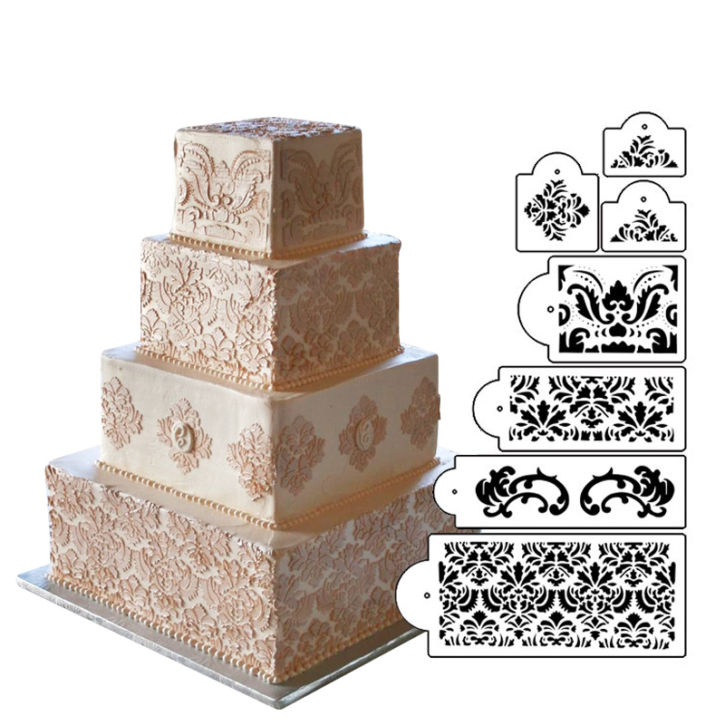Martha Stewarts Damask Cake Stencil Set Border Decorative Molds Wedding DIY Wall Decorating Tools ST 198 In From Home